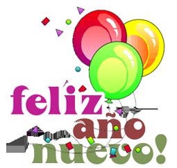 Feliz Año Nuevo con globos de colores