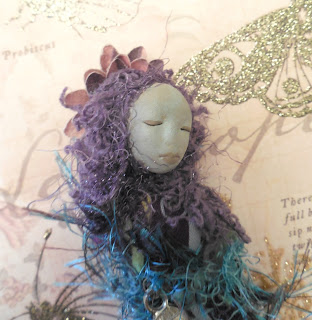 A Woman's Empowerment Handmade Purple Miniature Folk Art Doll