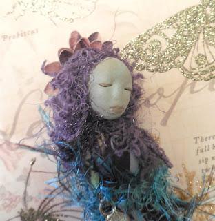 A Woman's Empowerment Handmade Purple Miniature Folk Art Doll