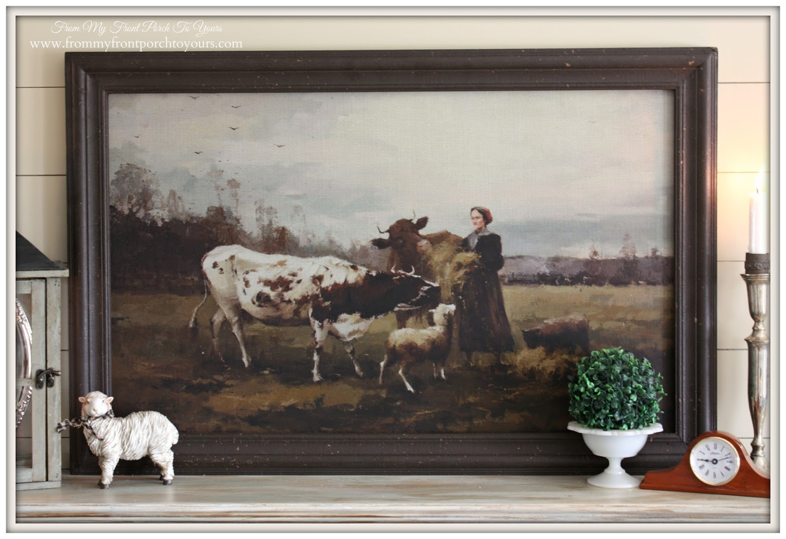 Pastoral Painting-French Country Mantel Vignette- From My Front Porch To Yours
