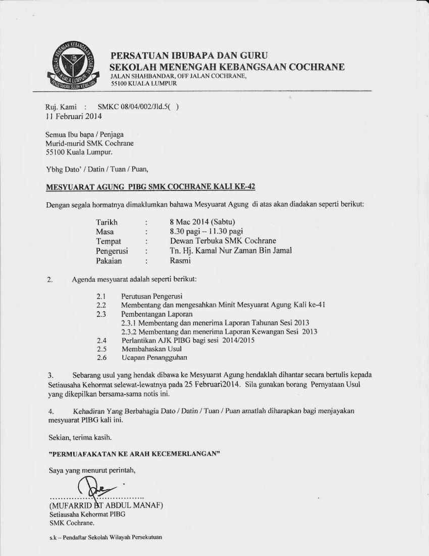 MESYUARAT AGUNG PIBG SMK COCHRANE KALI KE-42