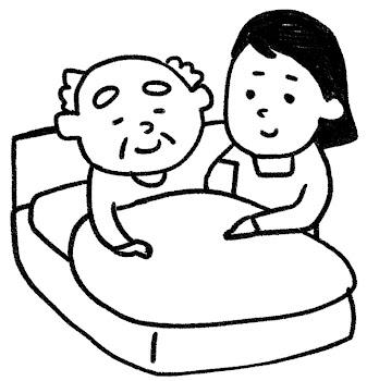 介護のイラスト「ベッドのおじいさん」 白黒線画