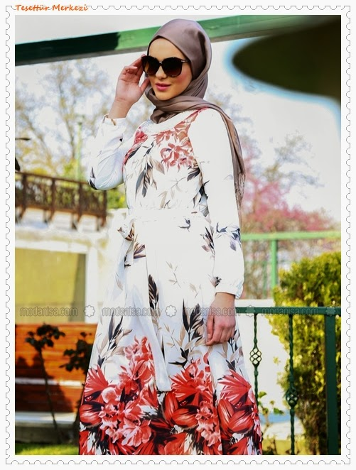 Refka 2014 Çiçek Desenli Tesettür Elbise Modelleri