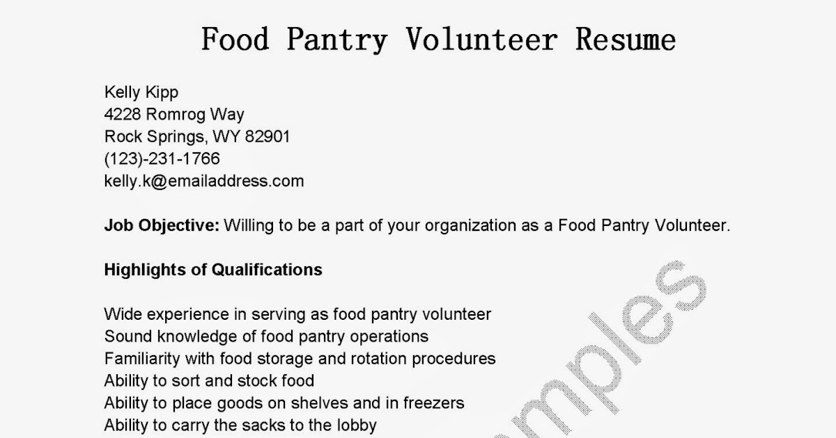 Resume Samples Food Pantry Volunteer Resume Sample