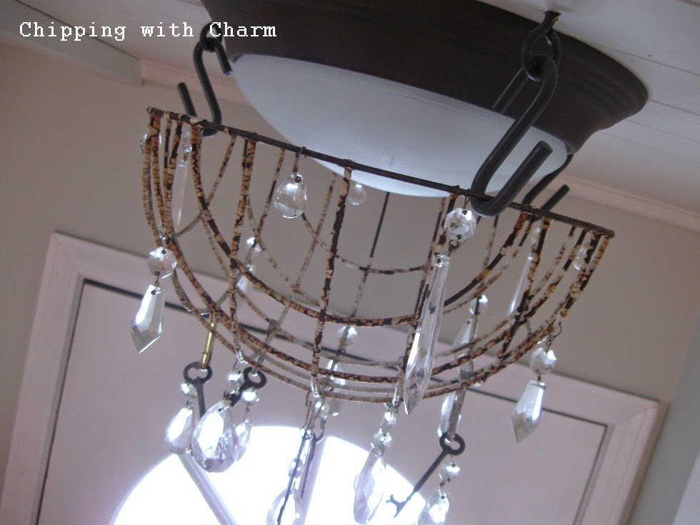 Chipping with Charm: Flower Basket to Chippy Light Fixture...http://www.chippingwithcharm.blogspot.com/