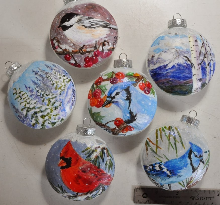 Watercolor reflections one of a kind hand painted glass for Glass christmas ornaments to paint