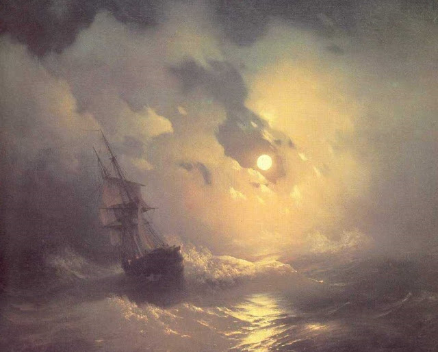 tempest,night,sea