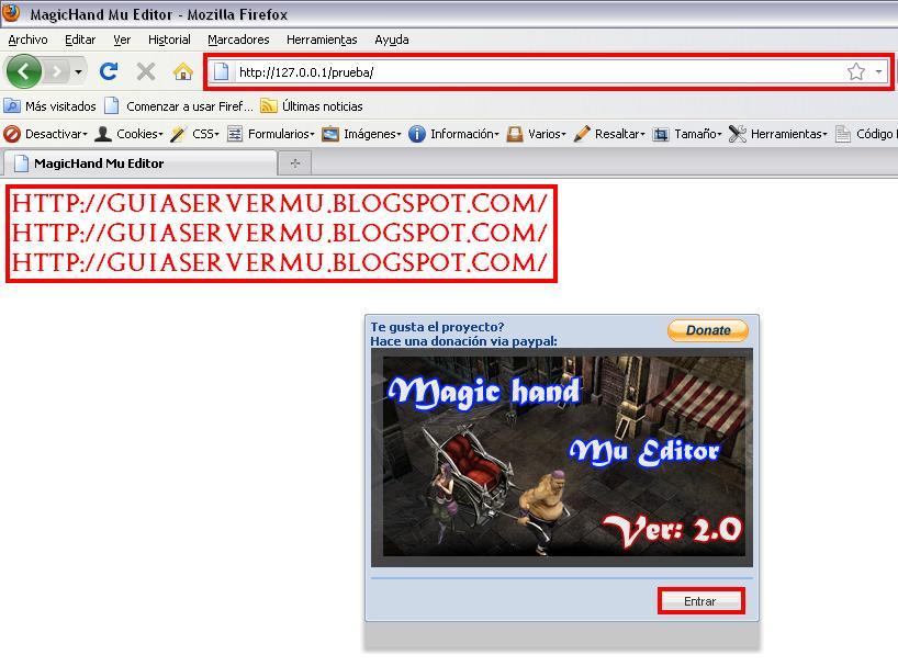 Interfaz del programa vista desde el navegador