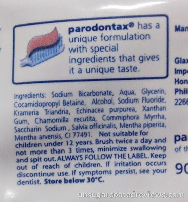 ingredients of Parodontax Daily Fluoride Toothpaste