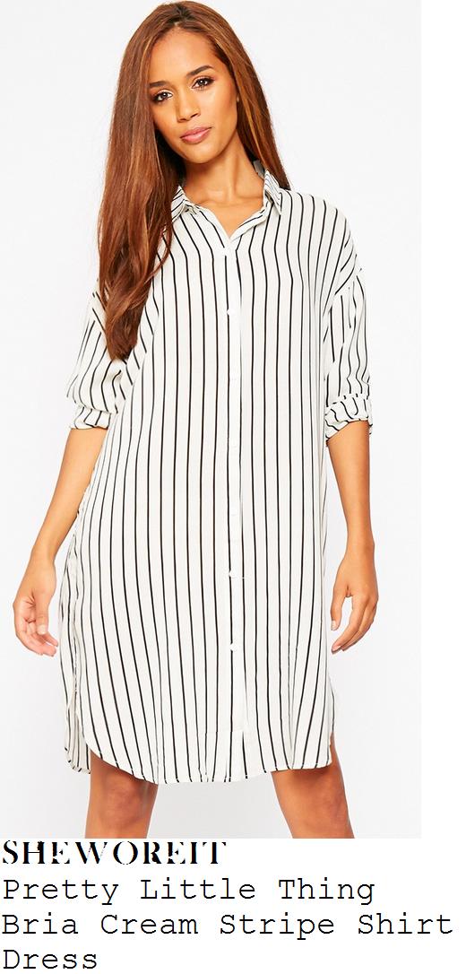 chloe-sims-cream-white-black-striped-shirt-dress