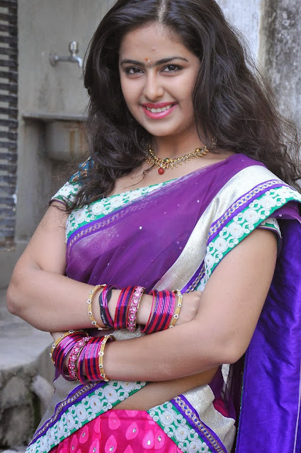 Avika Gaur in beautiful Purple Saree in her telugu movie must see beauty balika vadhu