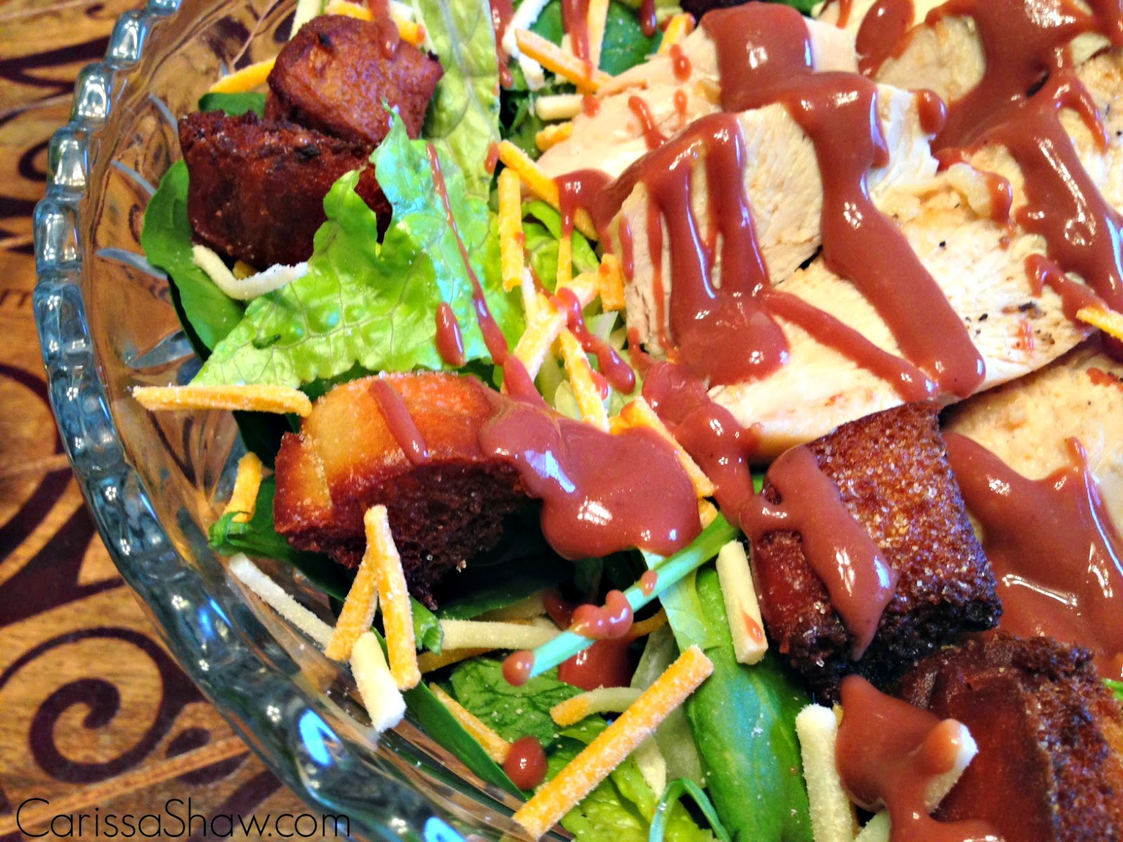 ... salad dressing, shredded cheese, turkey, and salad greens for a