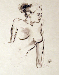 Life drawing, charcoal on paper, by Shannon Reynolds, 2012