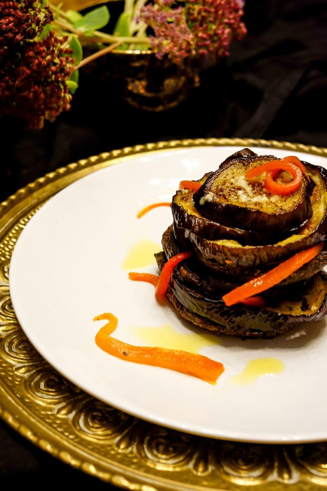 Eggplant and Pepper Napoleons