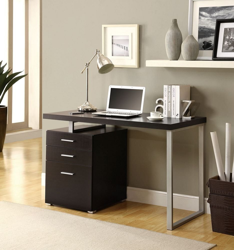 Modern Computer Desk With File Drawer In Cappuccino