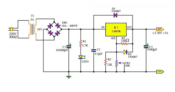 Adjustable Power Supply 1 2  U2013 30v 5a Using Lm338