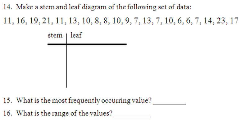 Stem And Leaf Plot Worksheet Complete The On Pictures