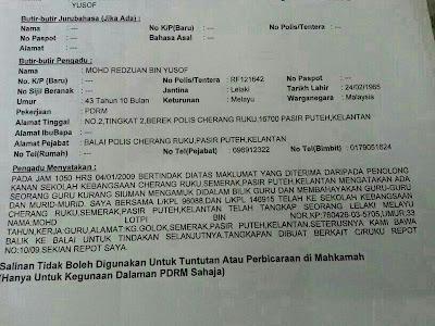 Report polis terhadap Mohd Lotfi Nor