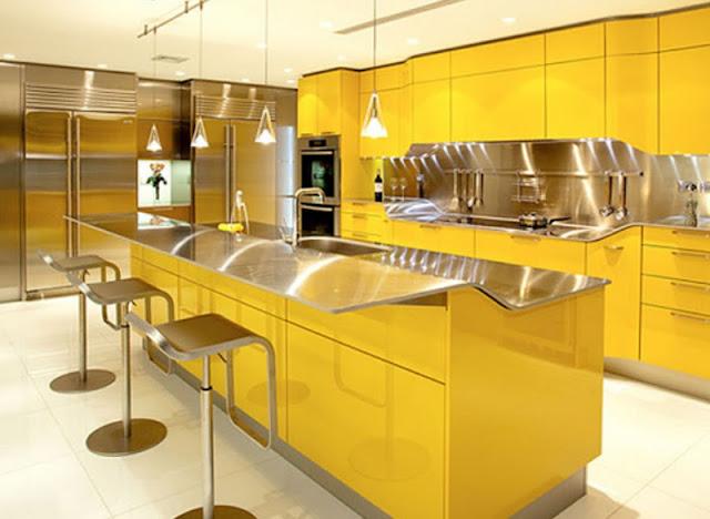 Bright Lemon Yellow Kitchen Paint Design Ideas ~ الوان مطابخ مودرن افضل طلاء جدران المطبخ