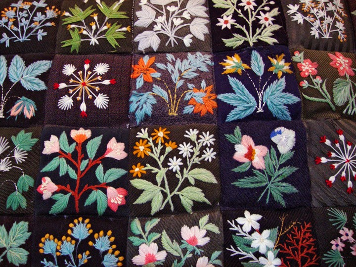 vintage quilt, embroidered wildflowers, Columbia Gorge Museum, detail