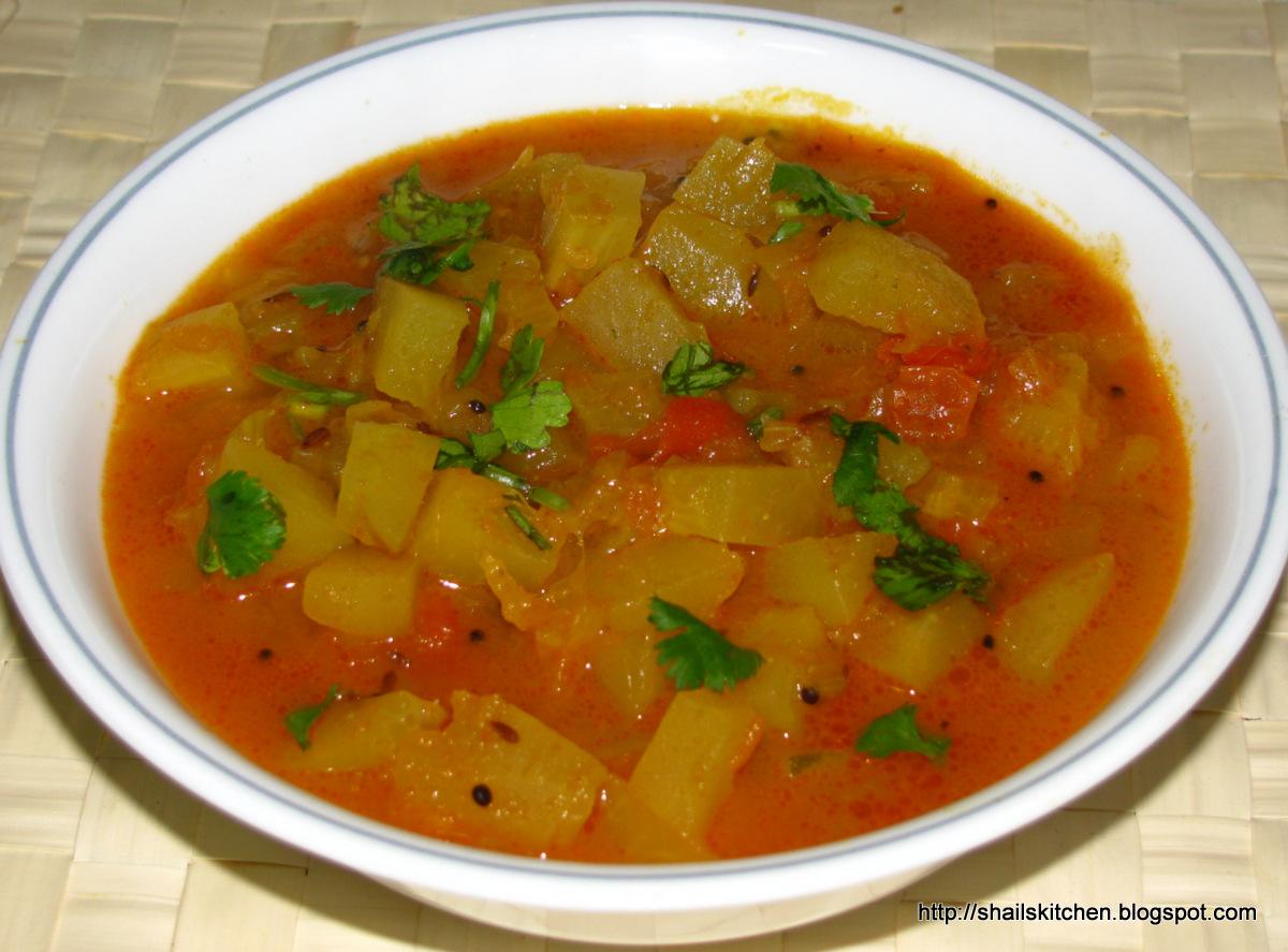 Shail de Cuisine: Raw Papaya Curry ( Hara papitha sabzi )