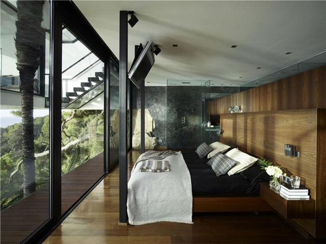 Picture of bedroom with glass wall