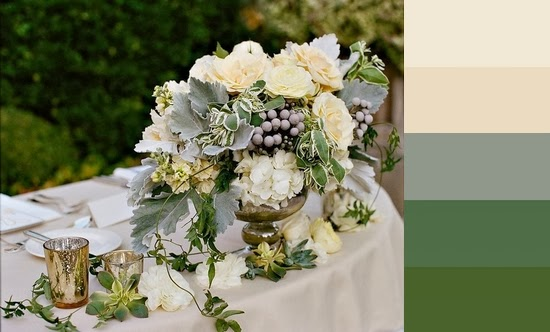 Green and Ivory Centerpiece and Color Palatte
