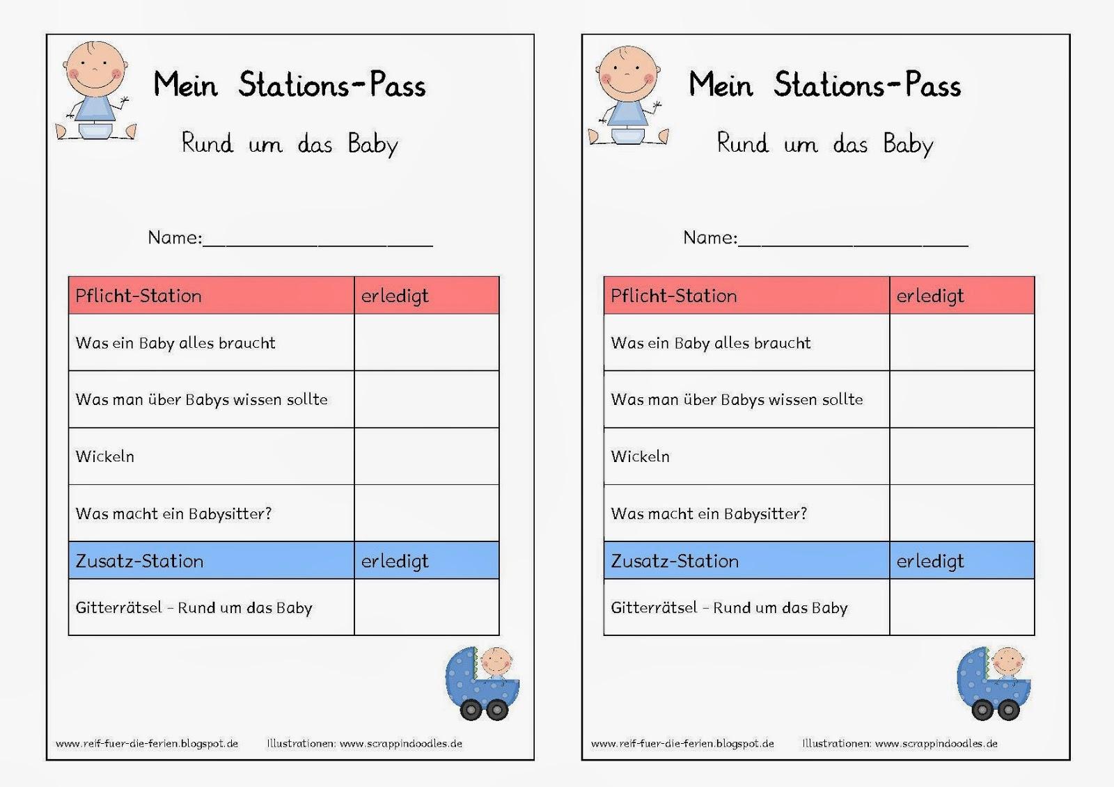 Stationsarbeit - Rund ums Baby