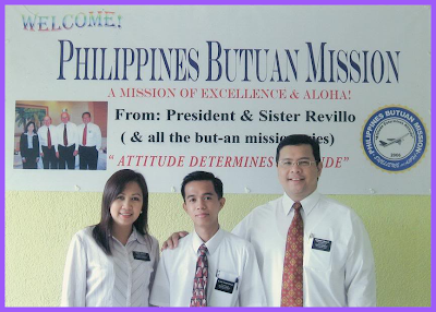 Elder Camporazo is welcome by President Revillo and his wife at the Butuan Philippines Mission