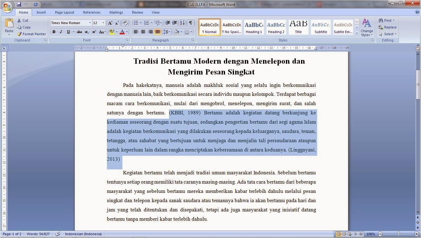 cara menulis essay dalam bahasa inggris