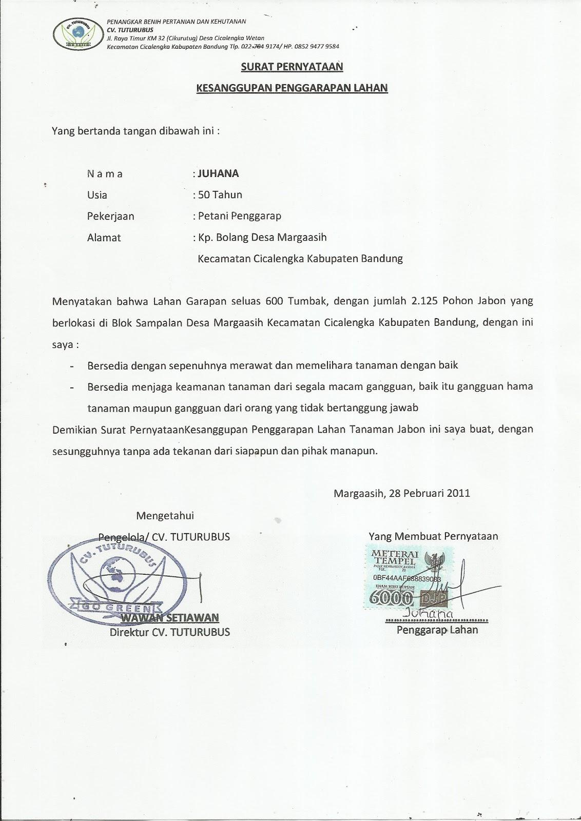 Gerakan Nusantara Hijau Contoh Surat Pernyataan Kesanggupan