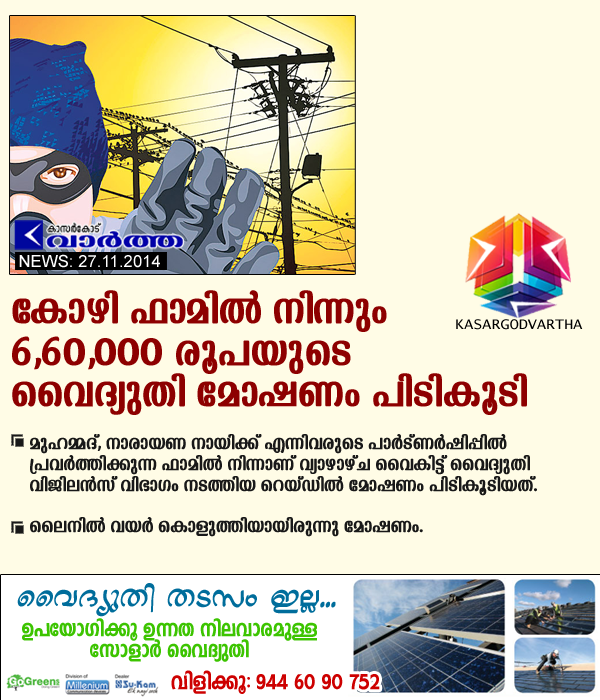 Chicken, Badiyadukka, Kerala, kasaragod, Vigilance-raid, Electricity, Robbery, case, complaint, Power theft: Domestic consumers fined Rs 6,60,000 lac