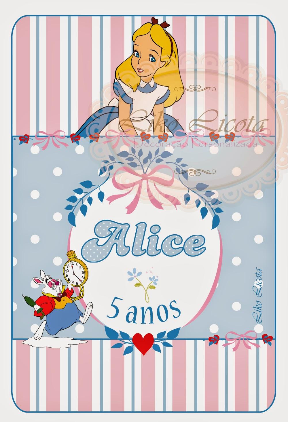 Rótulos personalizados Alice no Pais das maravilhas