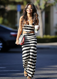 Christina Milian In Monochrome Stripe Dress