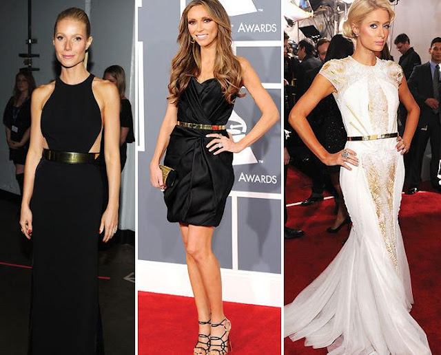 Os looks de Gywneth Paltrow, Giuliana Rancic e Paris Hilton usando metal belt.