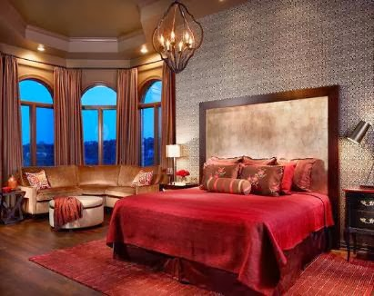 Sweet-Romantic-Bedroom-with-Elegant-Red-Bedding-Theme - Relationship  Bedroom Romance