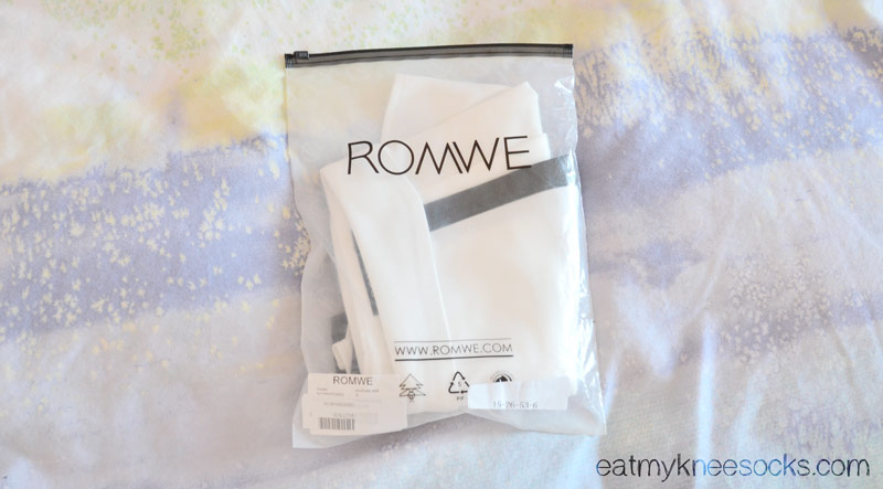 The leather-trim origami skort from Romwe came packaged nicely in a Romwe bag.