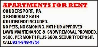 Coudersport Apartments For Rent........#922