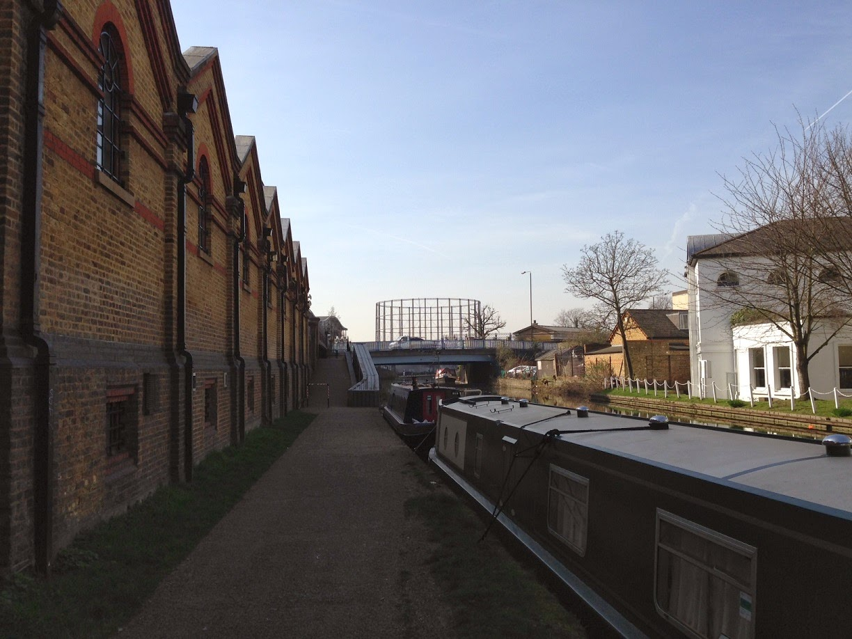 Looking along the Grand Union Canal towards the Kensington Gasworks