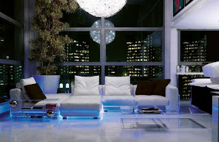 Luxurious Living Room Interior Design with LED Lighting