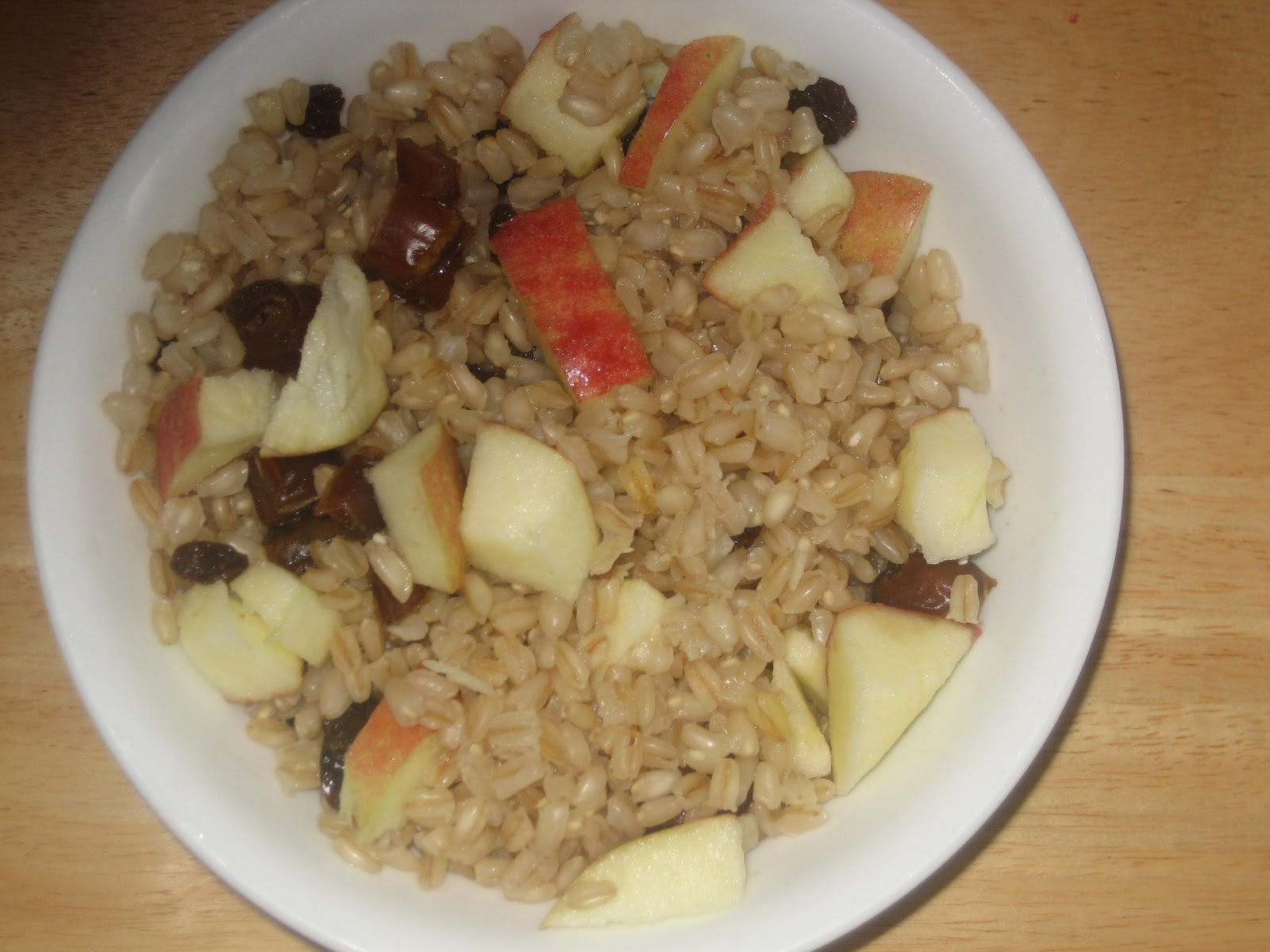 Wheat berry Breakfast Bowl with Apples, Dates & Raisins.