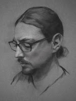 Self Portrait 12 by 16 / charcoal on toned paper /  2014-15