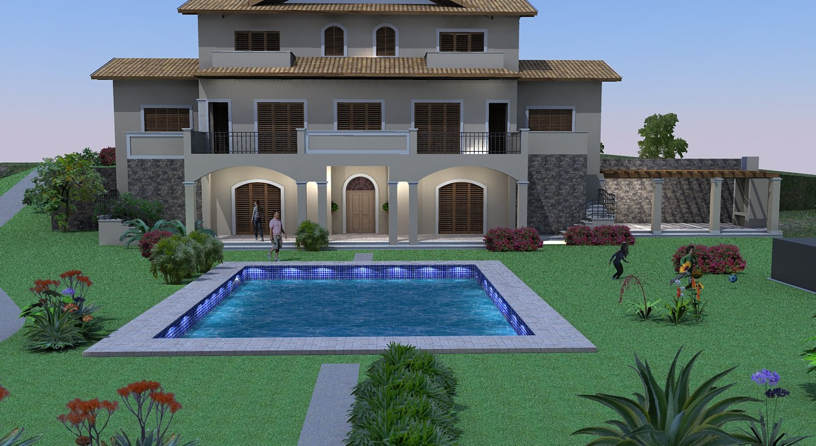 3d front london house front elevtion for Europe house design