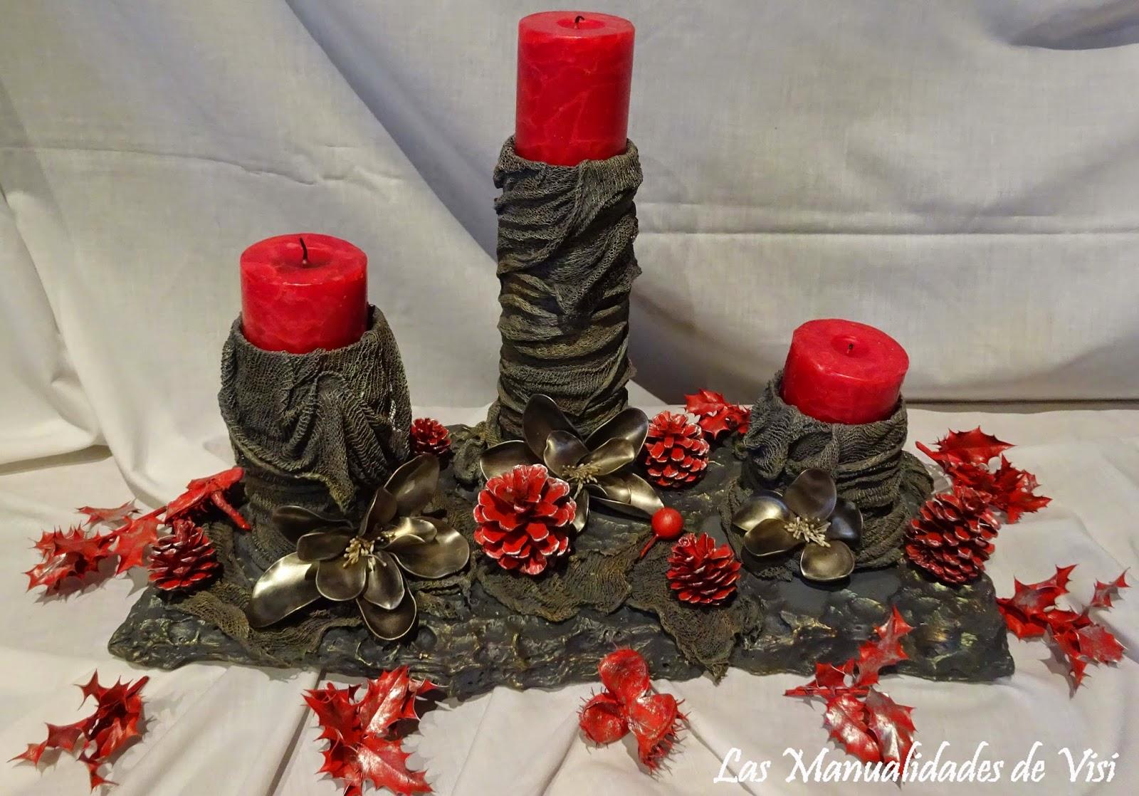 Las manualidades de visi centro de mesa con velas - Manualidades navidad con pinas ...