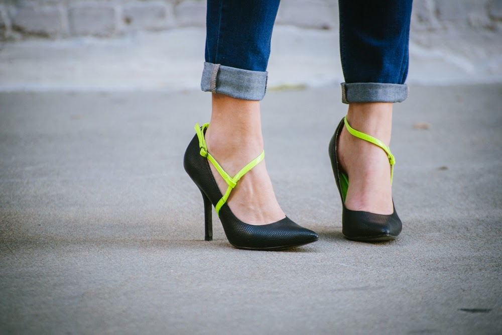 Neon detail black pumps | In good faith, Tess