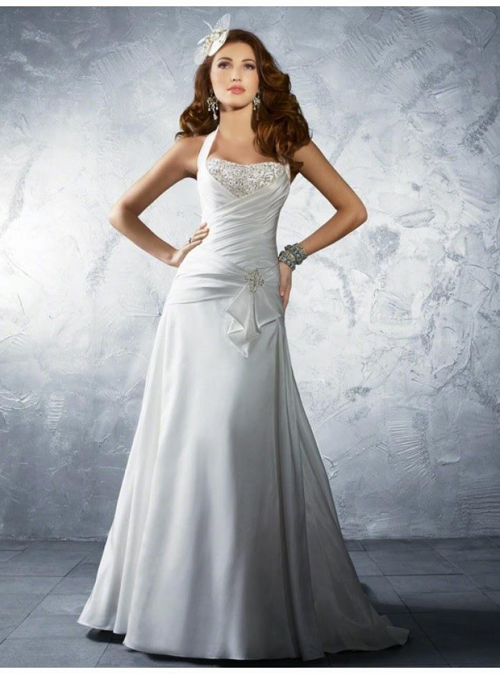 Vestido de Novia con Cuello Halter, Apliques en Pecho y Lazo en Cadera