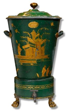 1st Dibs 19thc French Green Chinoiserie Tole Hot Water Urn
