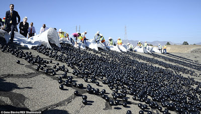 The Worlds Largest Ball Pit - Black HDPE Balls in the LA Water Reservoir