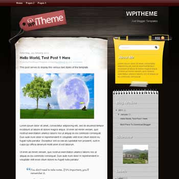 WpiTheme blogger template. blogger template from wordpress theme. girly blogger template