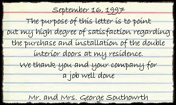 House of Doors - Alexandria, VA Customer Review September 16 1997